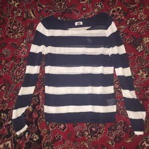 Navy/white striped long sleeved sweater